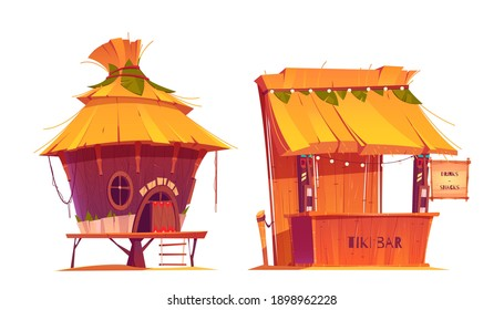 Tiki hut bar, hawaii beach wooden construction with hay roof and bamboo menu, tropical cabin on piles for selling drinks or snacks, summer party shacks, Cartoon vector illustration, icons, clip art