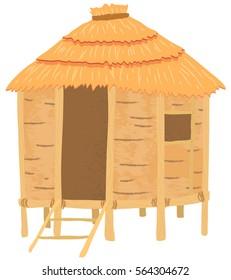 Tiki hut in cartoon style