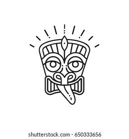 Tiki icon Tiki mask head. Thin line art Polynesian symbol, Vector illustration