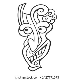 Tiki idol  flat  Line Art illustration of tiki idol vector icon for web design