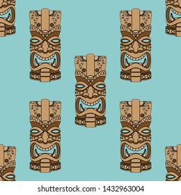 Tiki idol statue seamless pattern. Pacifiс island or african tribal mask statue vector illustration. Islands God faces endless walpaper pattern.