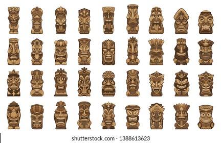 Tiki idols icons set. Cartoon set of tiki idols vector icons for web design