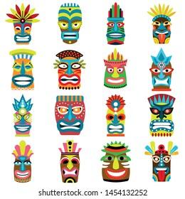 Tiki idols icons set. Flat set of tiki idols vector icons for web design