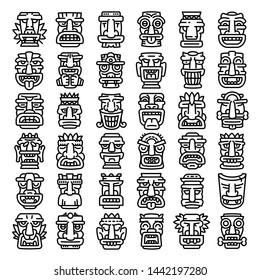 Tiki idols icons set. Outline set of tiki idols vector icons for web design isolated on white background