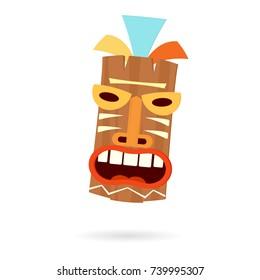 Tiki mask head. Vector illustration isolated on white background