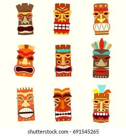tiki mask icon set. Vector illustration isolated on white background