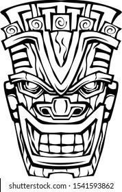 tiki mask illustration for decorative use