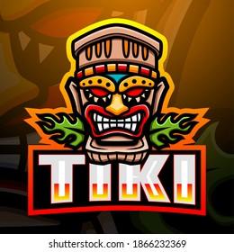 Tiki mask mascot esport logo design