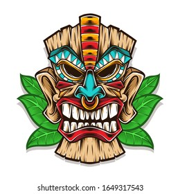 tiki mask vector logo illustration
