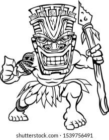 Tiki Mask Wearing Island Warrior