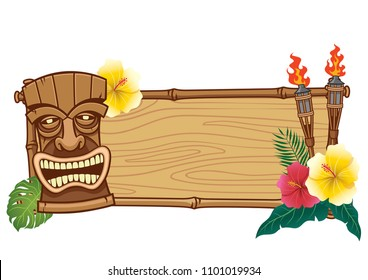 tiki mask and wooden frame for text