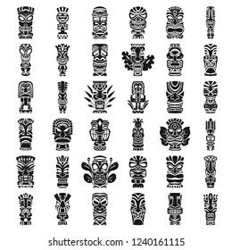 Tiki masks idols icon set. Simple set of tiki masks idols vector icons for web design on white background