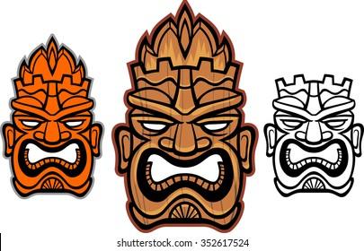 Tiki Masks-Variation of wooden tiki totems/ mask