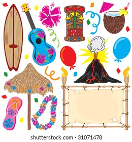 Tiki party elements great for a Hawaiian party!  Individually grouped