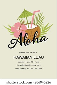 Tiki Party Invitation with coconut drinks