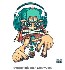 Tiki rapper. Tiki DJ. Can be used for creating logo, posters, flyers, emblem, prints, web. Hand drawn vector illustration