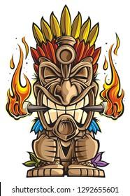 Tiki statue cartoon
