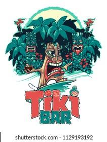 Tiki surfer and Tiki play the ukulele and drum. Tiki bar. Vector illustration