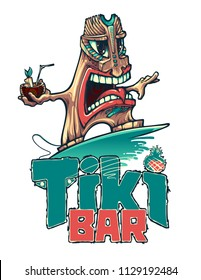 Tiki is a surfer with a tropical cocktail. Tiki bar