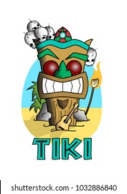 A tiki totem on the beach with a ukulele in the sand.
