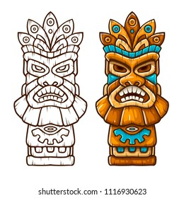 Tiki traditional hawaiian tribal mask with human face with outline. Wooden totem symbol, god from ancient culture of Hawaii. Hand drawn in cartoon style, isolated on white background. EPS10 vector.