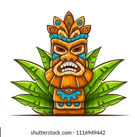 Tiki traditional hawaiian tribal mask with human face in green leaves of tropical plants. Wooden totem symbol, god from ancient culture of Hawaii. Hand drawn in cartoon style, isolated on white.
