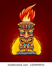 Tiki traditional hawaiian tribal mask with human face with flame of burning fire of torch. Wooden totem symbol, god from ancient culture of Hawaii. Hand drawn in cartoon. Eps10 vector illustration.