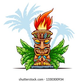 Tiki traditional hawaiian tribal mask with human face in green leaves of tropical plants. Wooden totem symbol, god from ancient culture of Hawaii. Hand drawn in cartoon style. Vector illustration.