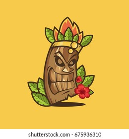 Tiki tribal mask. Tiki bar banner. Vector illustration. Hawaiian element