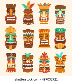 Tiki Tribal Mask : Hawaiian Elements : Vector Illustration