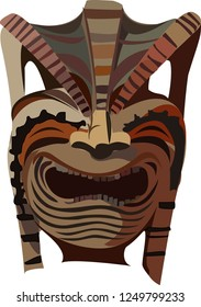 Tiki tribal wooden, color mask. Hawaiian, Polynesian idols, deities. Vector illustration.