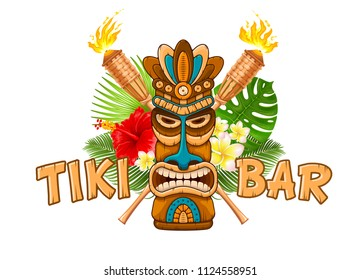 Tiki tribal wooden mask, beach bamboo torch, tropical exotic plants and signboard of bar. Hawaiian traditional elements. Isolated on white background. Vector illustration.