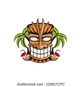 Tiki tribal wooden mask, beach bamboo, tropical exotic plants. Hawaiian traditional elements. Isolated on white background.