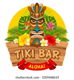 Tiki tribal wooden mask, tropical exotic plants and signboard of bar. Hawaiian traditional elements. Isolated on white background. Vector illustration.