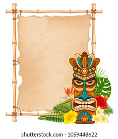 Tiki tribal wooden mask, tropical exotic plants and bamboo signboard. Hawaiian traditional elements. Isolated on white background. Vector illustration.