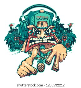 Tiki tropical party. Tiki DJ. Can be used for creating logo, posters, flyers, emblem, prints, web. Hand drawn vector illustration