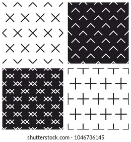 Tile black and white vector pattern set