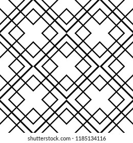 Tile black and white vector pattern for seamless decoration wallpaper