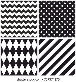 Tile black and white vector pattern with chevron zig zag, polka dots and stripe background