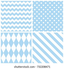 Tile blue and white vector pattern with chevron zig zag, polka dots and stripe background