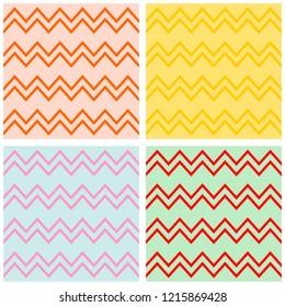 Tile chevron vector pattern set with pastel zig zag background