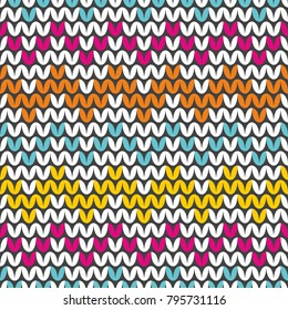 Tile colorful zig zag knitting vector pattern or winter background