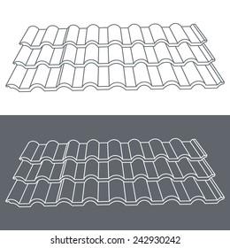 Tile element of roof. Eps10 vector illustration.
