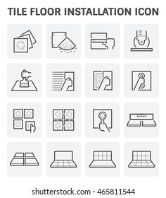 Tile floor installation and material vector icon set.
