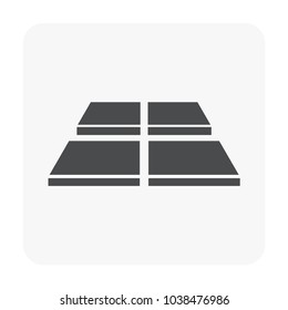 Tile floor material vector icon design in perspective view. That is a floor finishing material for paving or laying to decoration interior and exterior i.e. bathroom, kitchen, toilet and laundry room.