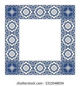 Tile frame vector. Vintage border pattern. Indigo blue and white ceramic decor design. Mexican talavera; spanish mosaic; portugal azulejos; sicily majolica motifs.