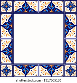 Tile frame vector. Vintage border pattern. Traditional ornamental ceramic decor design. Mexican talavera, sicily majolica, spanish mosaic, portugal azulejos, moroccan motifs.