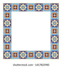 Tile frame vector. Vintage border ceramic pattern. Home decor ornament design. Mexican talavera, spanish mosaic, portugal azulejos, moroccan arabesque, italian sicily majolica motifs.