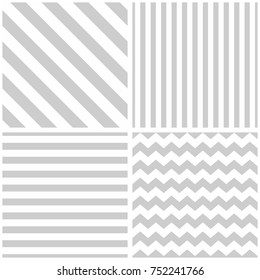 Tile grey and white vector pattern set with chevron zig zag, polka dots and stripe background