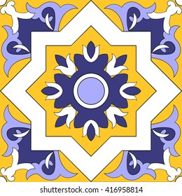 Tile pattern design vector. Portuguese patterns tiles - azulejo. Blue, yellow and white tiled pattern design.